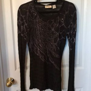 Miss Me Sheer top Sz Lg
